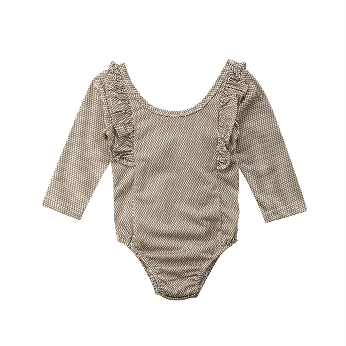 0-24 M Mooie Causale Pasgeboren Peuter Baby Meisjes Bodysuits Lange Mouwen Plaid Ruches Bruin Jumpsuits Bodysuit Sunsuit Baby Kleding Hoge Veerkracht