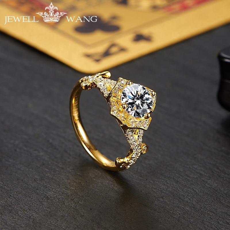 Jewellwang Moissanites Engagement Rings For Women Original Poker 18K Gold Diamond Side 1.0ct Certified vvs1