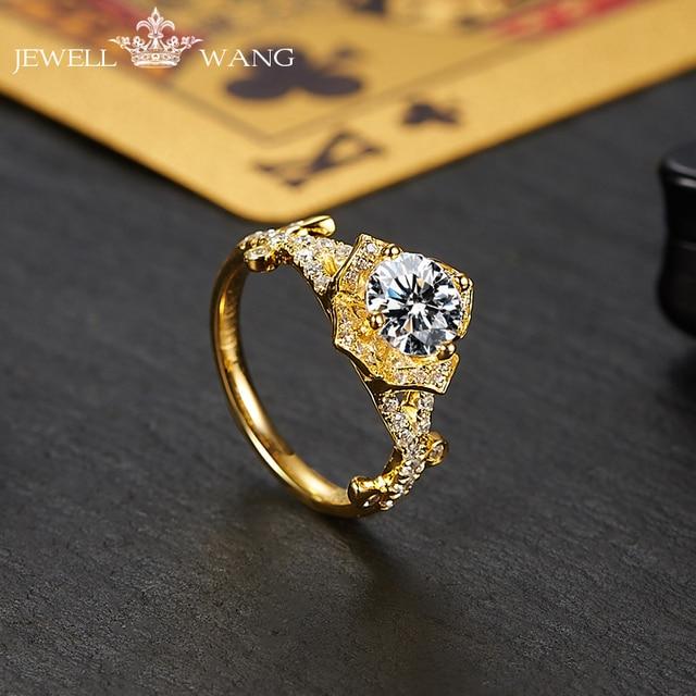 f0a4b9a7d7ae Jewellwang moissanite anillos de compromiso para las mujeres Original Poker  18 K oro diamante lado 1.0