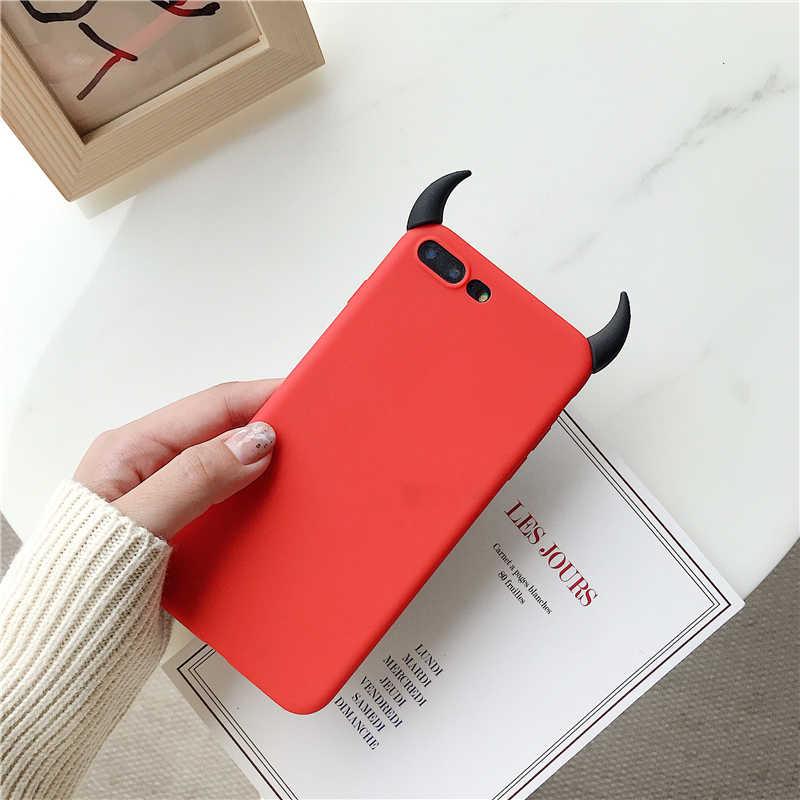 Yumuşak Silikon Siyah Kılıf Şeytan Boynuzları Şeytan Açı Kapak için Huawei P20 Lite P30 Pro P8 P9 P10 Artı P akıllı 2019 Mate 9 10 20 X