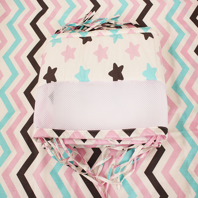 One Piece Pink Stars Baby Bumpers In Crib Anticollision Newborns Cot Protectors Safe Use ...