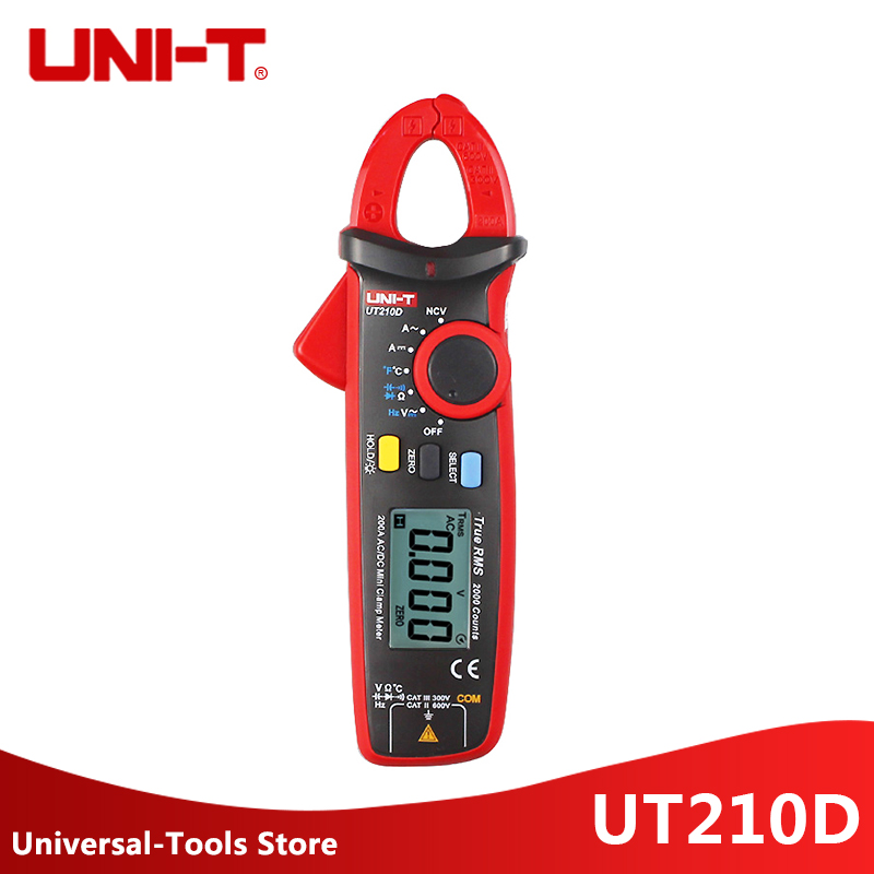 UNI T UT210D AC DC Current Voltage Resistance Mini Digital Clamp Meter Multimeter Auto Range Multimeter
