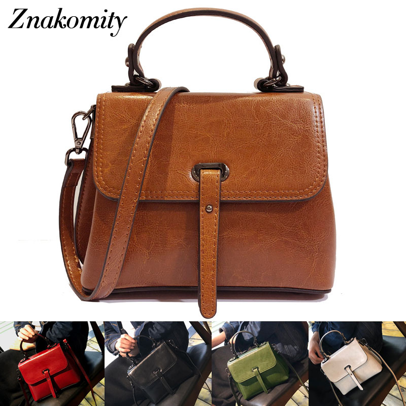 Znakomity Vintage female bag ladies genuine leather shoulder bag women's Fashion small real leather handbags Brown crossbody bag цена и фото
