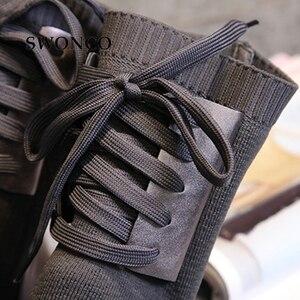 Image 3 - SWONCO 女性のブーツ 2018 秋冬本革ニットウール女性の靴女性ブーツ冬ミッドカーフブーツ女性靴