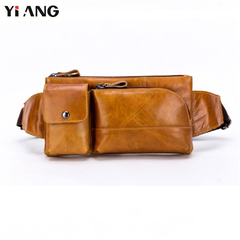 YIANG Casual Genuine Leather Waist Packs Fanny Pack Belt Bag Phone Pouch Cowhide Oil Wax Travel Waist Pack Male Waist Belt Bag парафин oneball x wax 5 pack assorted