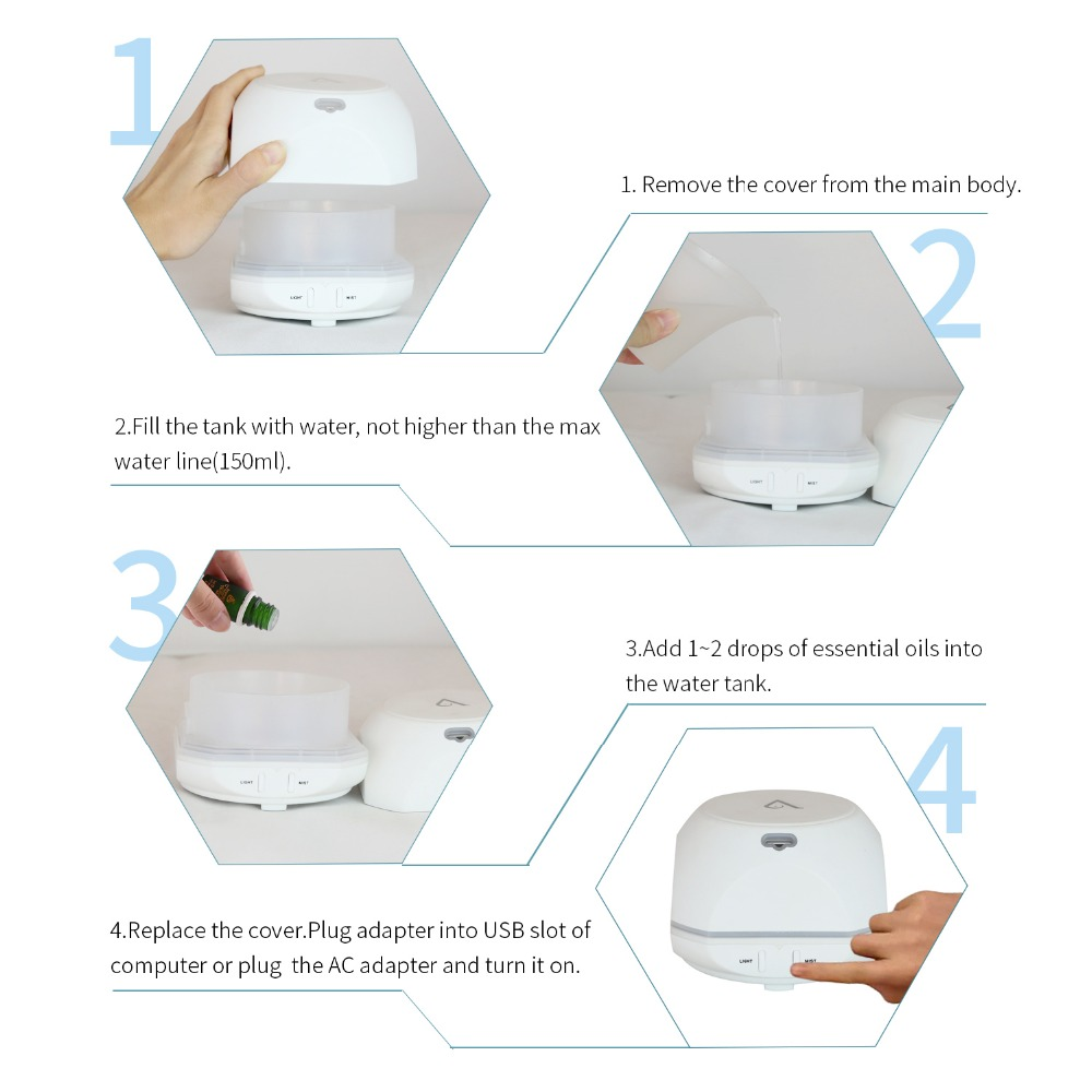 USB Aroma Essential Oil Diffuser Ultralyd Cool Mist - Husholdningsapparater - Foto 5