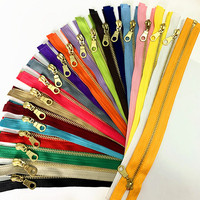 Set of 20 Pieces 5# Brass Metal Separate Open Tail Zippers In with Donut Zippers Pulls(12 24 Inch) Zippers for Sewing