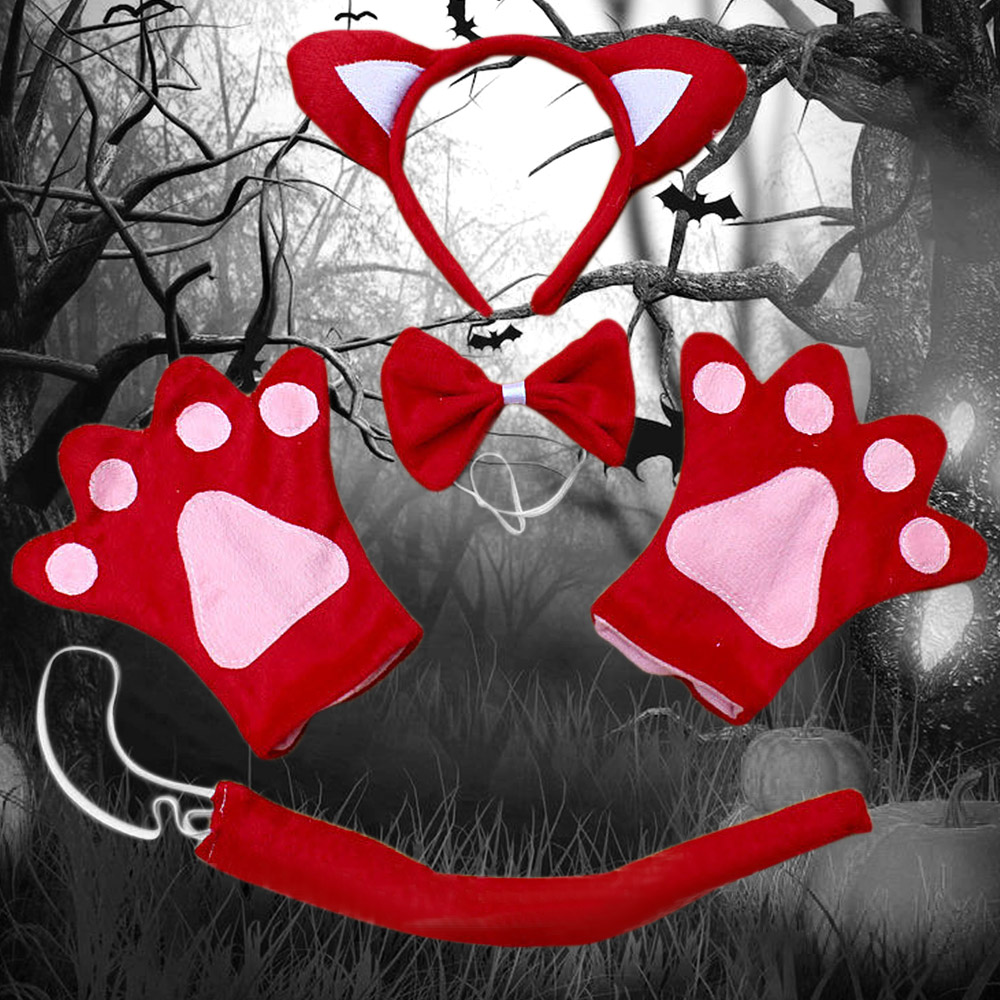 TAOS Kids Halloween Costume Animal Headband Tie Tail Gloves for Fancy Dress Cosplay Party Costume Head Band Christmas Decoration