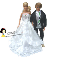 Free Shipping 2sets Full Around Lace Dress For Barbie Doll White Wedding Dress Ken Doll Suit