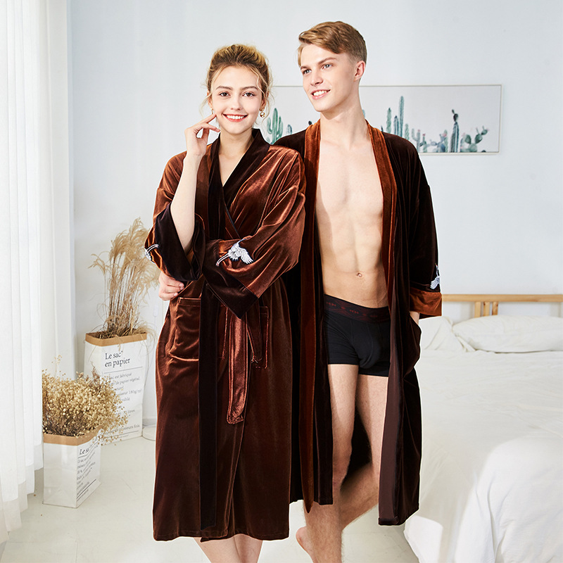 Autumn Winter Couple Long Robes Men Women Velour Long Sleeve Bathrobe Home Clothes Casual Coffee Caramel Sleepwear Night Gowns