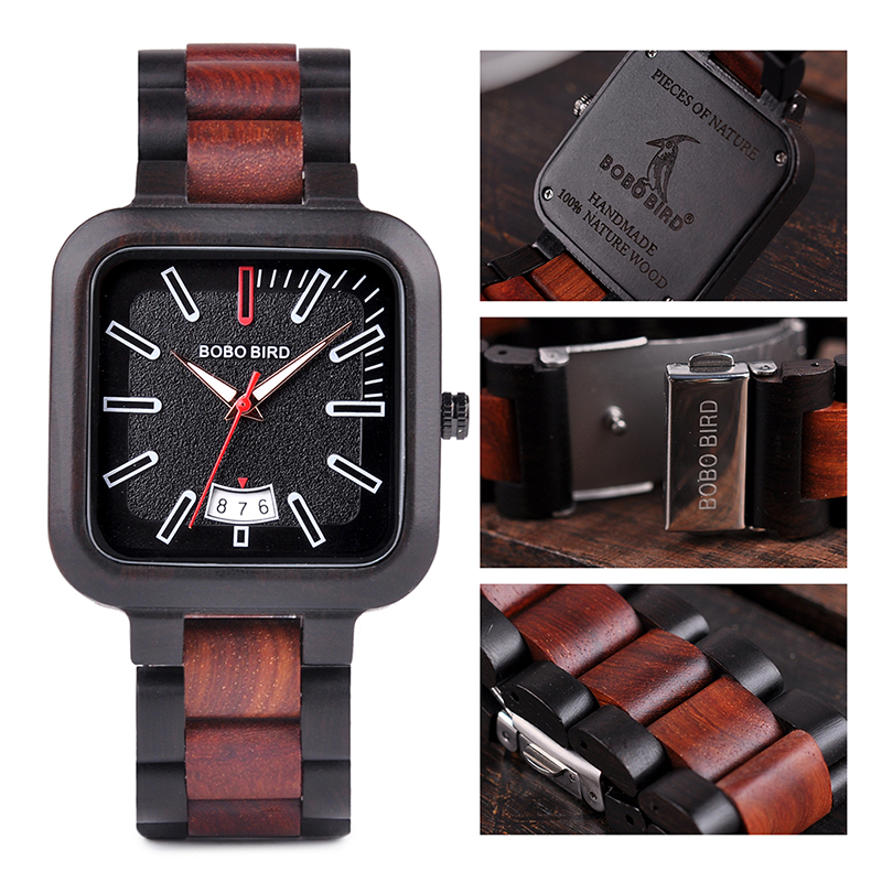 BOBO BIRD Square Design Stylish Wooden Watch For Men With Box 10