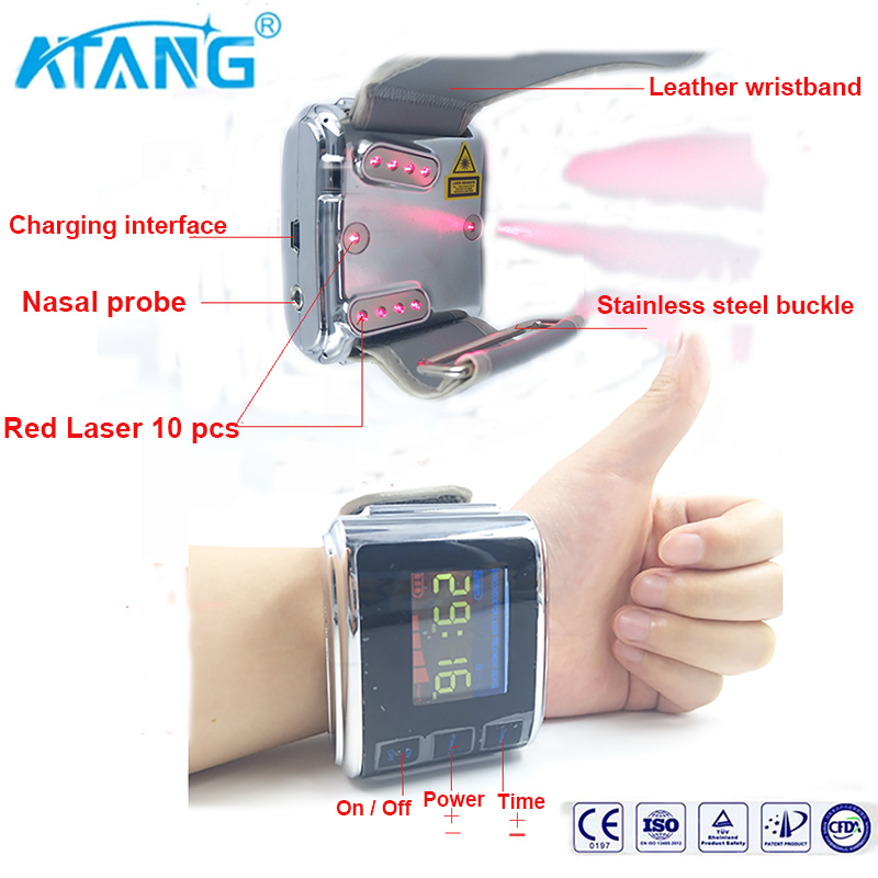 ATANG 2018 New Laser Watch Therapy High Blood Pressure LLLT Diabetes Rhinitis Cholesterol Hypertension Reduced Blood Viscosity цена