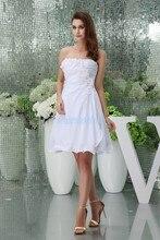 free shipping modest 2013 new hot short formales chiffon plus size straps bridal dress handmade flowers white Bridesmaid Dresses