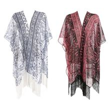 Women Dark Color Half Sleeves Bikini Cover Up Country Style Paisley Floral Jacquard Kimono Cardigan Semi-Sheer Long Tassels Trim novelty collarless half sleeves high low tassel embellished kimono for women