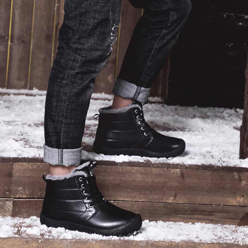 REETENE Kış Erkek Botları Açık Kar Ayak Bileği günlük çizmeler Kaymaz Su Geçirmez Pamuk Çizmeler Artı Boyutu Moda Dayanıklı çizmeler