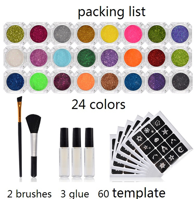 24 Colors Shimmer Glitter Tattoo Kit Tattoo Stencil Set 3 Glue 2 Brushes 60 Models For Temporary Tattoo Body Art 5megapixel 1 7mm fisheye lens for hd cctv ip camera m12 mount 1 2 5 f2 0 compatible wide angle panoramic cctv lens