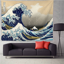 Wave Whale Tapestry Wall Hanging Japanese Ukiyo-e Art Hippie Witchcraft Tapestry Wall Decor Carpet Throw Wall Cloth Tapestries lightning ocean wave print tapestry wall hanging art