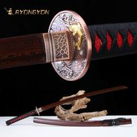 Handmade Katana Real Sword Sharp Samurai Sword Japan Ninja Sword Damascus Folded Steel Full Tang Maroon Blade Battle Ready 711