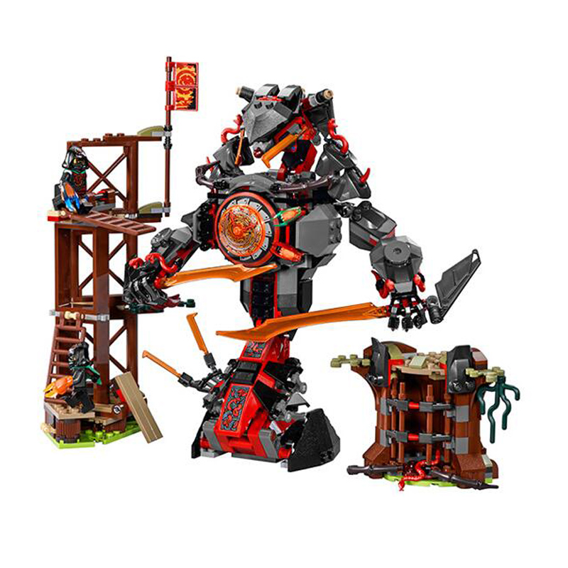 ФОТО 734pcs Ninja New 10583 Dawn of Iron Doom DIY Model Building Kit Blocks figures Toys Playset Compatible with Lepingoes