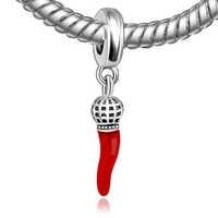 Authentische 925 Sterling Silber Perle Charme Vintage Red Emaille Horn Anhänger Perlen Pandora Armband & Armband DIY Schmuck