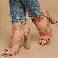 Hot Sale Parkside Wind Summer Women S Sandals Square Heel 10cm Navy Female High Heels Shoes