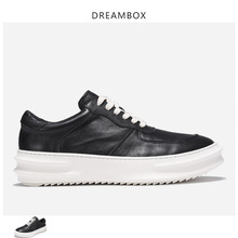 Mens Platform Increased Shoes Leather Fashion Sports Round Head Black Tide