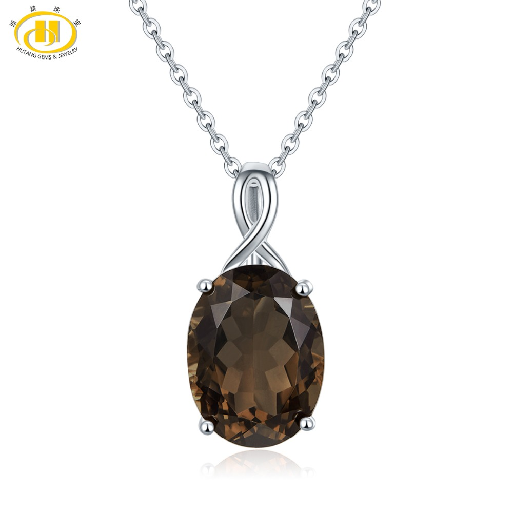 Hutang Natural Gemstone Silver Pendant Necklace Solid 925 Sterling Smoky Quartz Fine Fashion Stone Jewelry for