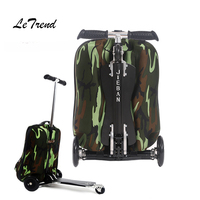 Letrend Skateboard Rolling Luggage Casters Detachable Backpack Men Carry On Trolley Suitcases Wheel Travel Duffle School Bag