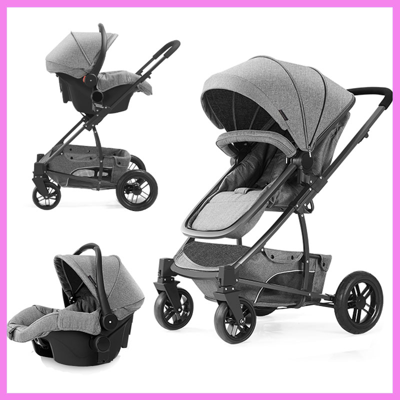 Luxury Infant Baby Stroller 3 In 1 Child High View Four Wheel Portable Jogging Baby Stroller Pram Car Seat Cradle Pushchair 0~3Y baby stroller pram bb rubber wheel inflatable tires child tricycle infant stroller baby bike 1 6 years old bicycle baby car