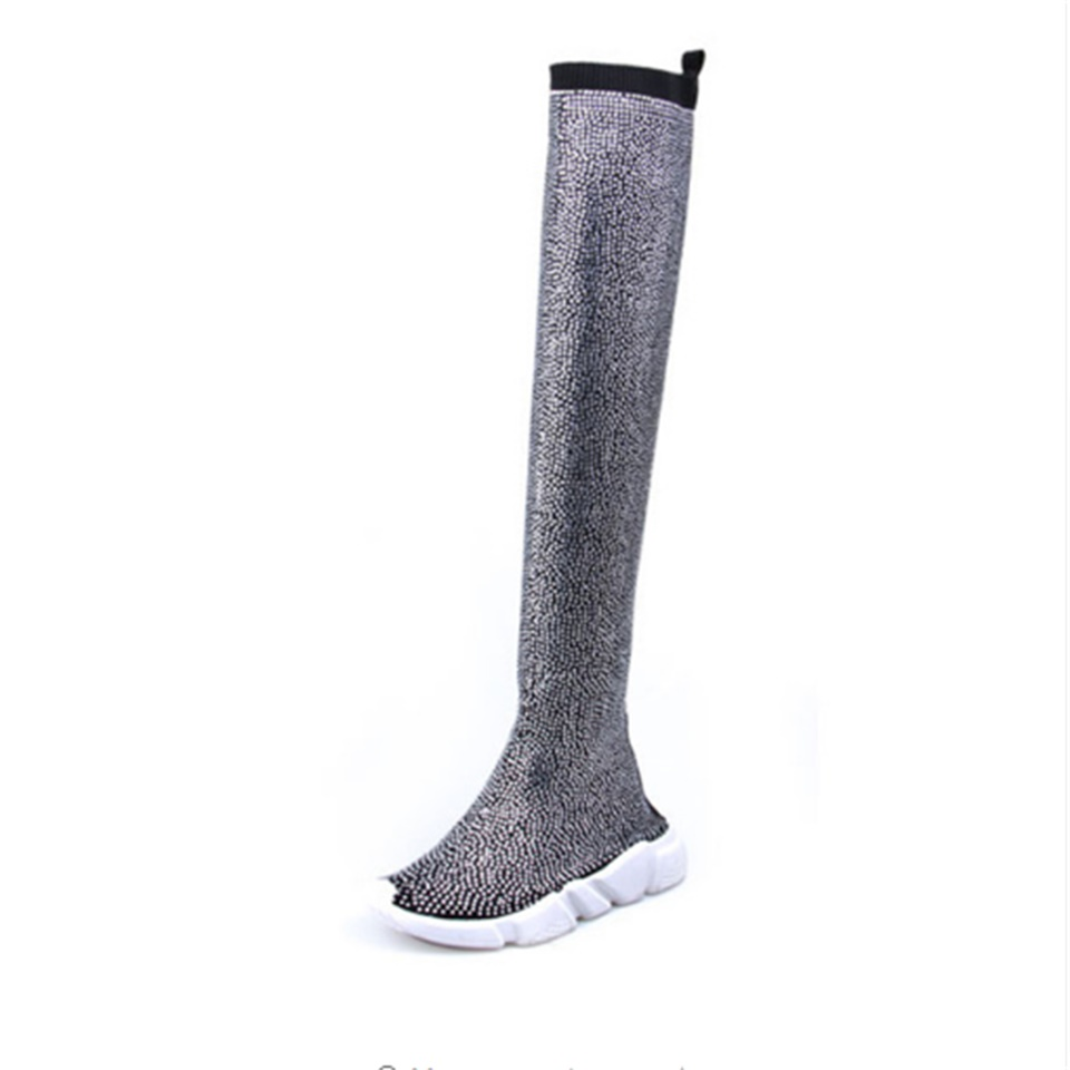 2019 Fashion Spring Autumn Women Knitting Sock Boots Sport Flat Handmade Rhinestones Sneaker Women Thigh High Women Boots in Over the Knee Boots from Shoes