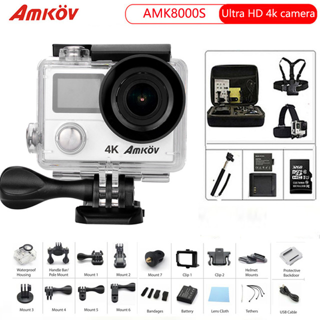 Amkov action Camera 8000s Ultra HD 4K 3840x2160 Wifi 170D Go Waterproof 30M Pro Mini Cam Sports Camera action camera h3r h3 ultra hd 4k 170d lens go dual screen camera pro waterproof 30m remote control sport camera