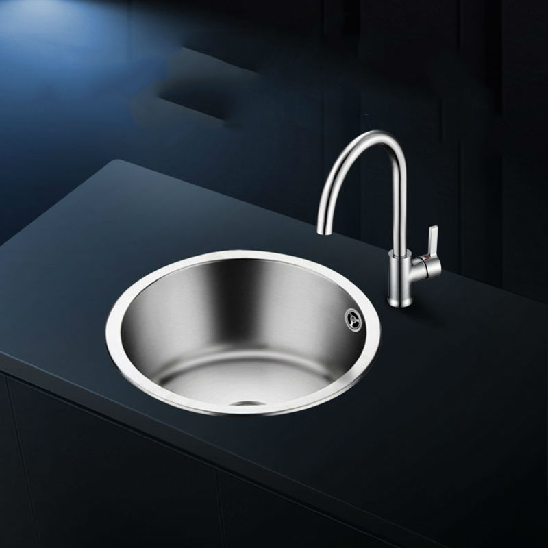 kitchen sinks single bowl sus 304 stainless steel round drawing drainer handmade brushed seamless sink with faucet free shipping