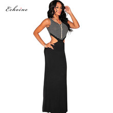 Echoine Ball PartyLong Dress Women O-Neck Sleeveless Sexy Hollow Out Strip Patchwork Elastic Maxi Vintage Vestido Casual Outfit