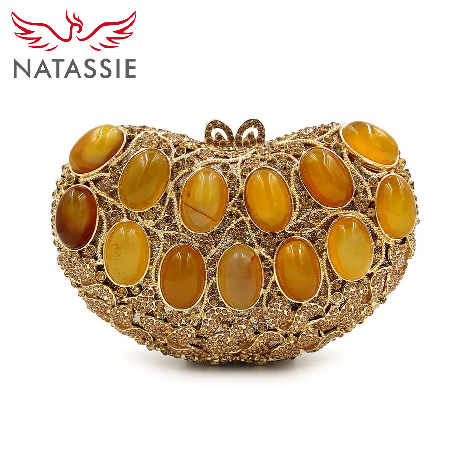ФОТО NATASSIE 2016 High Quality New Fashion Agate Luxury Handbags Women Bags Designer Crystal Day Party Clutches Evening Purses