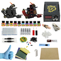 Complete profession Tattoo kits 10 wrap coils 2 guns machine 10 tattoo ink sets power supply disposable needle clip cord