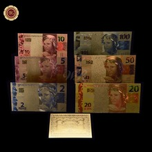 6Pcs/Set COLOR GOLD BRAZIL 2-50 REALS BANKNOTE NormalT GOLD BANK NOTE LIMITED(China)
