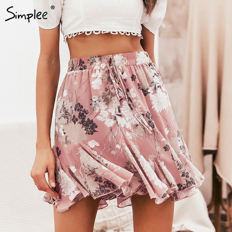 Simplee Bohemian Floral Print Women Skirt Elastic High Waist Ruffled Mini Skirt Female Casual Summer Beach Short Skirts 2019