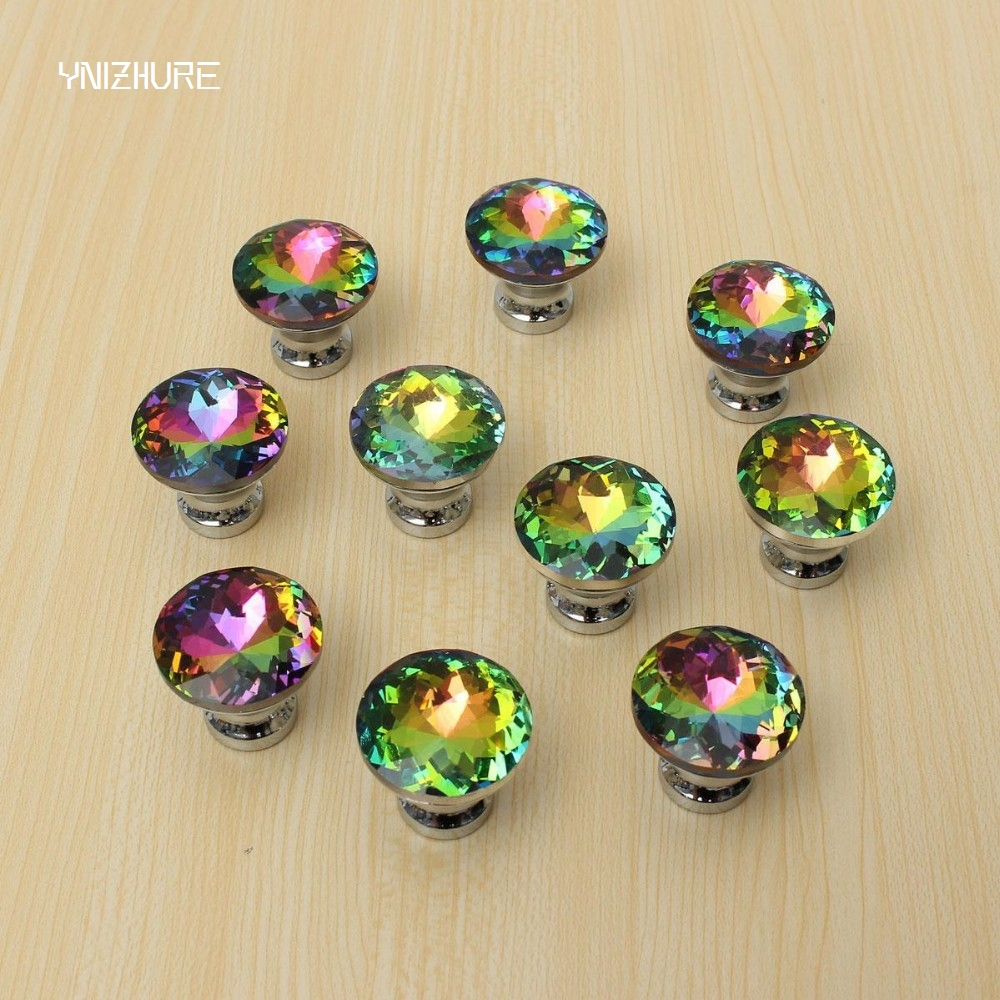 Original Quality 30mm 10pcs Door Knobs Crystal Diamond