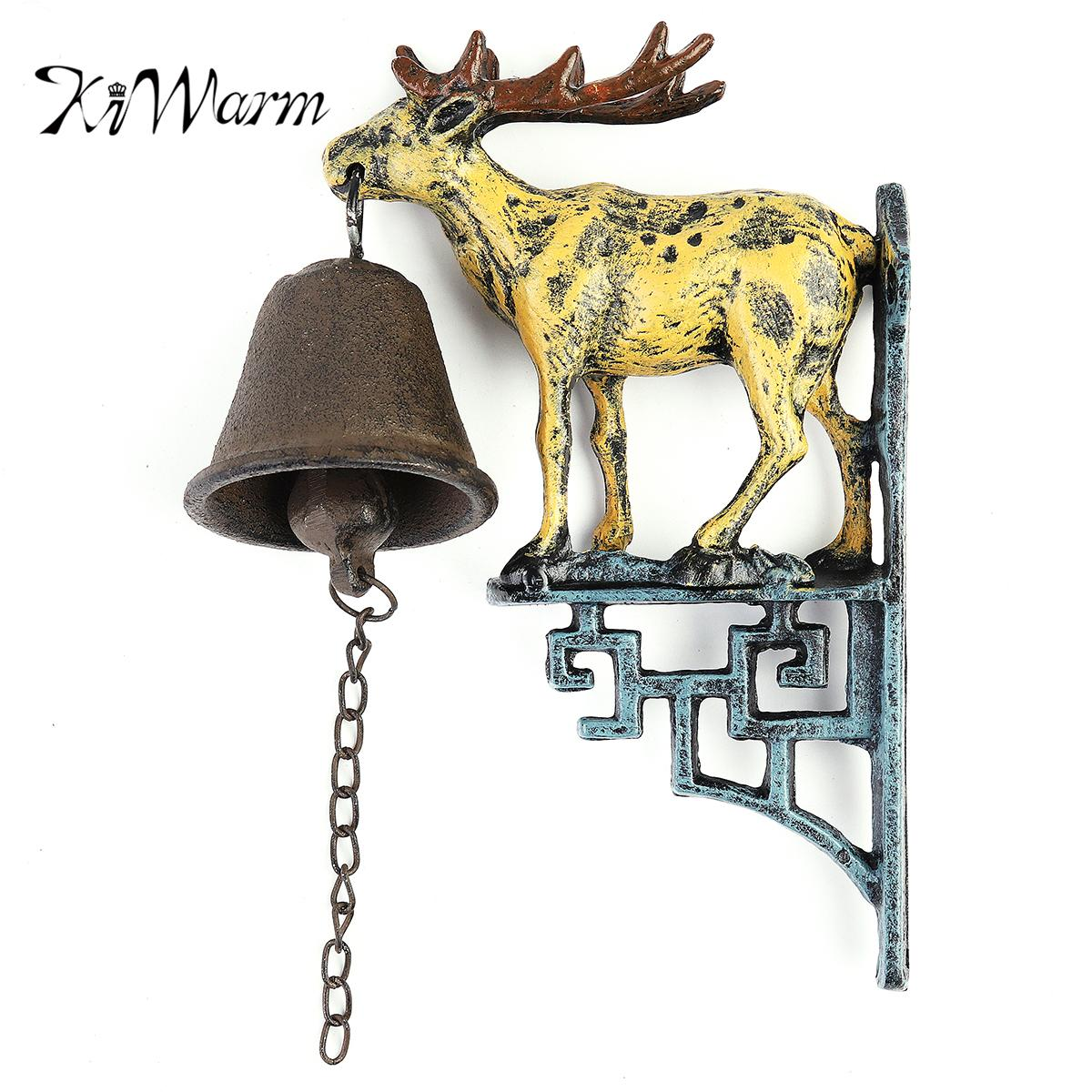 KiWarm Retro Cast Iron Door Bell Metal Wall Mounted Stag Head Deer Antler Reindeer Design for Home Garden Hanging Ornament