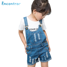 Encontrar Summer Jeans Overalls Shorts for Girls Kids Ripped Denim Jumpsuit for Boys Children Jeans Shorts Casual 24M-8T,DC181