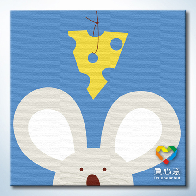 Colored drawing diy digital oil painting - mouse 20 belt in frame