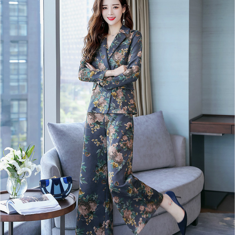 plus size Suit suit female spring and autumn new Korean version of loose casual women's wide leg pants fashion two sets of tide