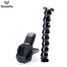 SnowHu Jaws Flex Clamp Mount and Adjustable Neck For GoPro Hero 7 6 5 4 sj4000  Eken H9R Xiaomi Yi 4k Sjcam Action Camera GP152