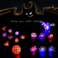 50Pcs/lot Children Led Glowing Ring Soft Rubber Kids toys Halloween Creative Glow In The Dark Toy Pumpkin Finger Light