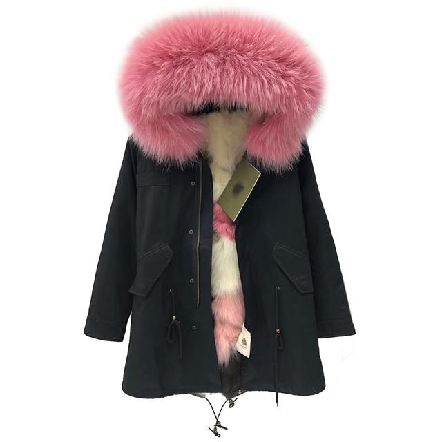 2018 New Luxury Fur Parkas Women Thick Warm Fox Fur Outwear Fur Hood Medium Long Overcoat Female Causal Real Mink Fur Clothing