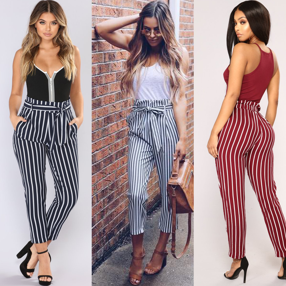 Fashion Women's Stripe High Waited Pants High Street Tapered Tailored Trouser Cigarette Pants 2018 New Summer