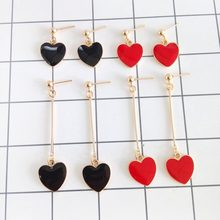 2018 fine jewelry accessories earrings girl fashion popular sister heart-shaped pendant earrings long women earrings of women