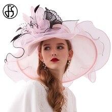 FS 2020 קיץ כובעי כנסיית לנשים אלגנטי ורוד אורגנזה גבירותיי תה מסיבת חתונה כובע גדול רחב שולי Fascinator בציר פדורה