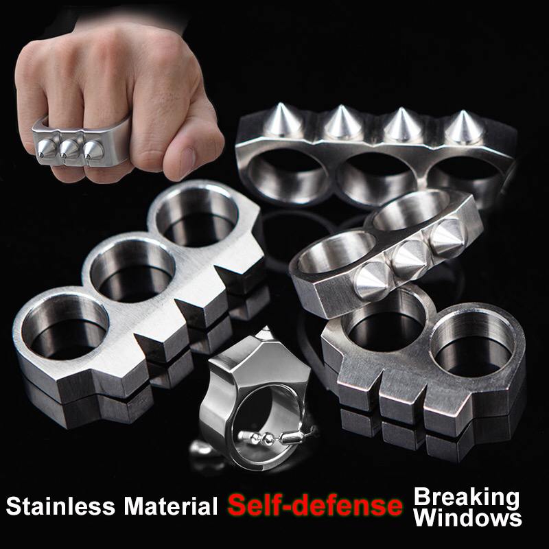 Key Chain Ring Buckle Outdoor Self Defense Weapons Breaking Windows Tool Fashion Christmas Gift Stainless Steel Finger Ring 10pcs lot self defense ring shocker weapons product survival ring tool pocket women self defense ring stainless steel spike