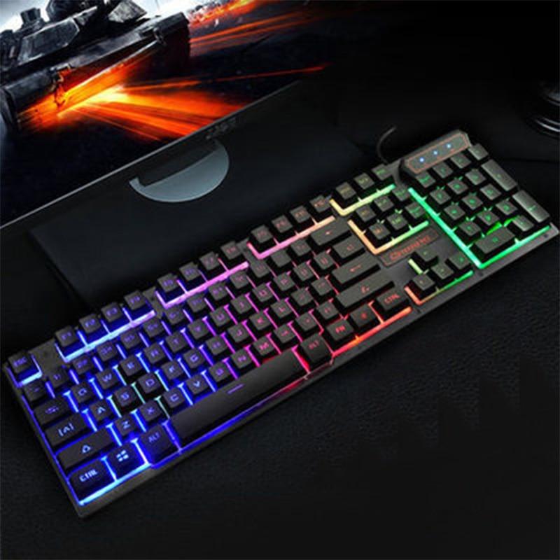 wired gaming keyboard 104 keys backlit keyboards mechanical feeling metal gamer keyboard for. Black Bedroom Furniture Sets. Home Design Ideas